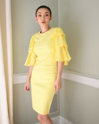 The Drop Women's Lemon/White Polka-dot Tiered Ruffle Sleeve Ribbed Dress by @jessicawang S