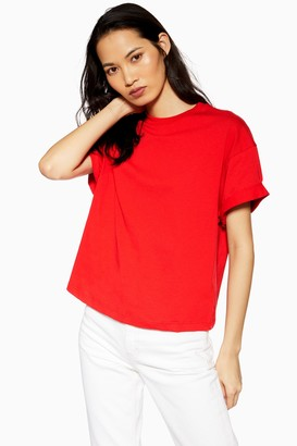 Topshop Womens Boxy Roll T-Shirt - Red
