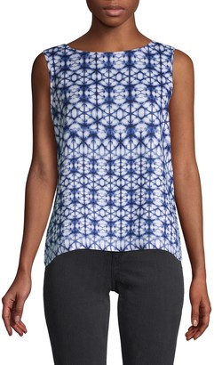 Pure Navy Mosaic Tie-Dyed Linen Top