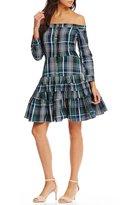 Gianni Bini Daisy Off the Shoulder Plaid Dress