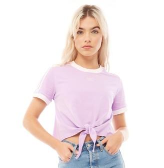 adidas Womens Cut-Knot T-Shirt Purple Glow
