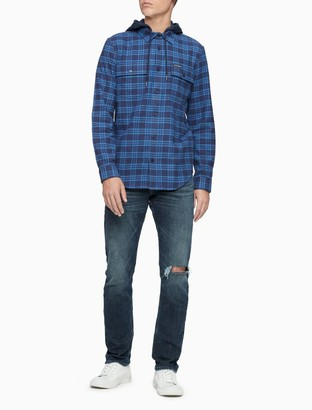 Calvin Klein Regular Fit Flannel Plaid Button-Down Hooded Shirt
