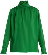 Gucci Ruffle-trimmed high-neck silk blouse