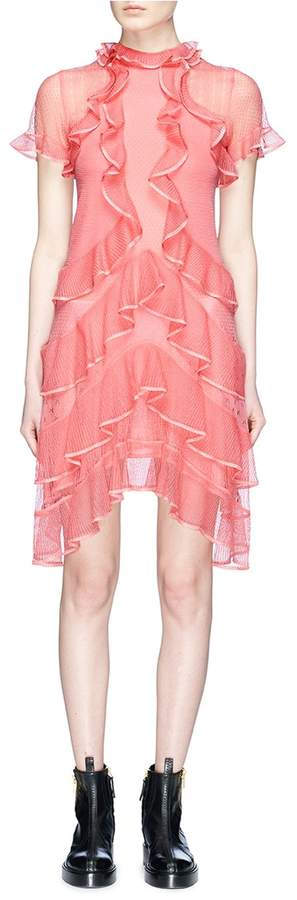 Alexander McQueen Tiered ruffle lace knit dress
