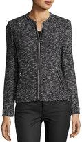 Rebecca Taylor Stretch-Boucle Zip-Front Jacket, Black/White