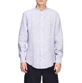 Eleventy Platinum Shirt In Striped Linen With A Korean Collar
