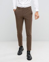 Asos Skinny Suit Trousers In Brown