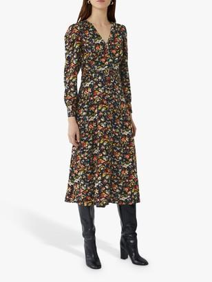 Warehouse Rose Print Midi Dress, Multi