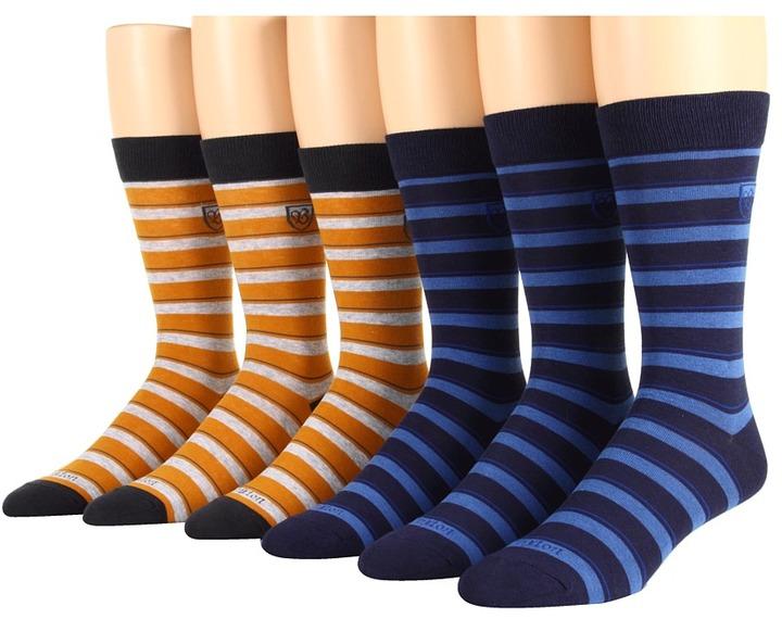 Brixton Gordon 6-Pair Pack (Mustard/Blue) - Footwear