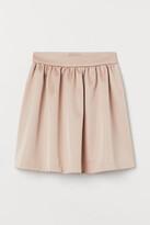 H&M Flared Satin Skirt - Beige