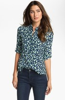 Vince Camuto Two by Roll Sleeve Shirt (Petite) New Navy Medium P