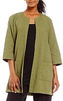 Eileen Fisher Round Neck Long Jacket
