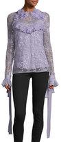 Elie Saab Floral-Appliqué Ruffled Lace Blouse, Lavender