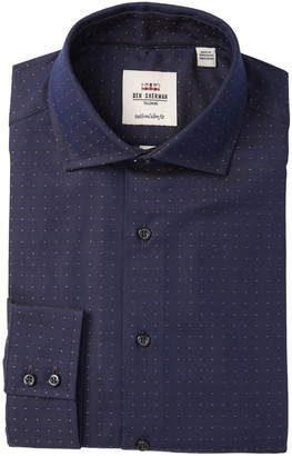 Ben Sherman Sateen Dobby Tailored Slim Fit Dress Shirt