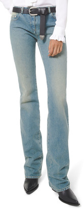 Michael Kors Collection Faded Wash Monogram Stovepipe Jeans