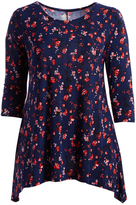 Glam Navy & Red Floral Sidetail Top - Plus