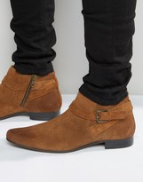 Asos Boots in Tan Suede With Buckle Strap Detail