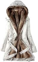 Fashion Showcase Women Thicken Fleece Fur Warm Winter Coat Down Jacket (XXL, )