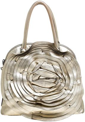 Valentino Metallic Gold Leather Petale Rose Satchel
