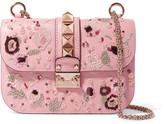 Valentino Lock Medium Embellished Leather Shoulder Bag - Pink
