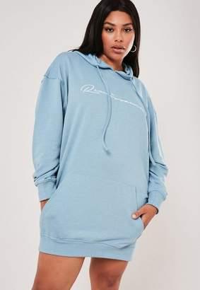 Missguided Plus Size Blue Renaissance Hoodie Sweater Dress