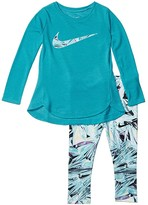 Nike Dri-FITtm Sport Essentials Long Sleeve Tunic and Leggings Two-Piece Set (Toddler) (Teal Nebula) Girl's Active Sets