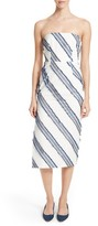 Milly Women's Adeline Diagonal Stripe Strapless Sheath Dress