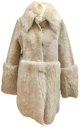 Schumacher Beige Mongolian Lamb Coat for Women