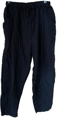 Pas De Calais Black Cotton Trousers for Women