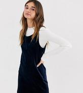 Monki cord sleeveless mini shift dress in navy