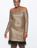 ELOQUII Studio Off the Shoulder Sequin Dress with Feathers