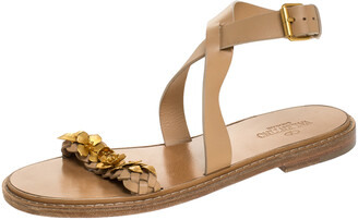 Valentino Beige Leather Floral Embellished Testa Di Moro Ankle Strap Flat Sandals Size 39