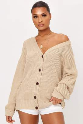 I SAW IT FIRST Stone Knitted Button Front Cardigan