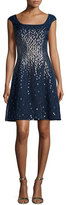 Kay Unger New York Cap-Sleeve Metallic Silk Organza Fit-and-Flare Dress, Navy