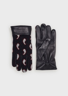 Giorgio Armani Lambskin Nappa Leather And Cashmere Knit Gloves