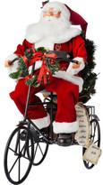 Christmas Shop Decor-Santa With Bike Figurine Multi