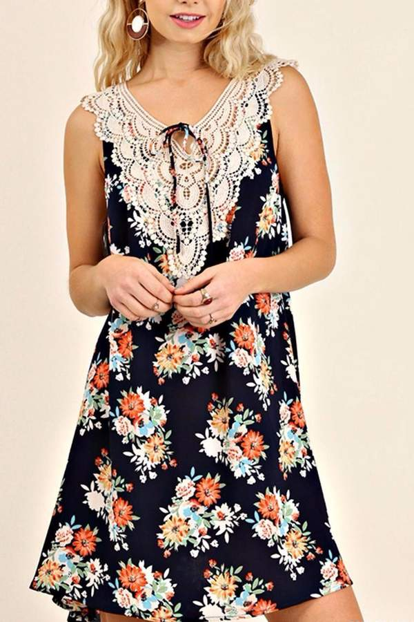 Umgee USA Sleeveless Print Dress