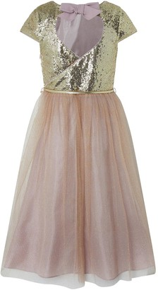 Monsoon Girls Kylie Cap Sleeve Tiered Prom Dress - Gold