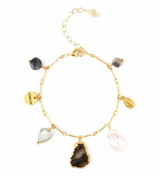 Chan Luu Grey Mineral Stone Mix and Simulated Pearl Goldtone Charm Bracelet