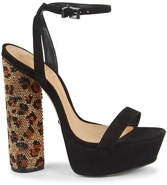 Schutz Adenia Leopard Embellished Suede Platform Sandals
