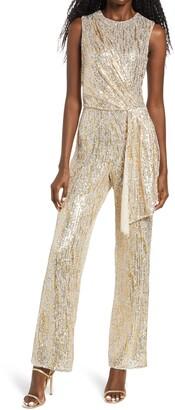 Saylor Briar Gold Foiled Sequin Sleeveless Jumpsuit