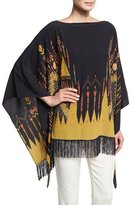 Etro Geometric-Print Silk Poncho Top, Black/Gold