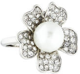 Kenneth Jay Lane Crystal & Pearl Flower Ring
