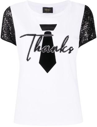 Liu Jo Thanks sequin-sleeved T-shirt