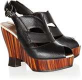 Proenza Schouler Cutout leather and wooden wedge sandals