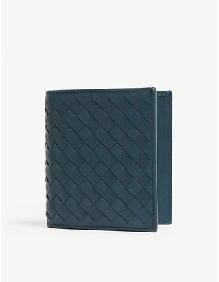Bottega Veneta Intrecciato small woven leather billfold wallet