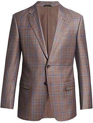 Giorgio Armani Windowpane Virgin Wool-Blend Sportcoat