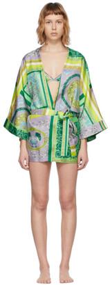 Versace Underwear Multicolor Silk Barocco Mosaic Robe