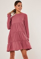 Missguided Blush Jersey Tiered Smock Dress