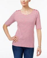 Karen Scott Laced-Shoulder Striped Top, Only at Macy's